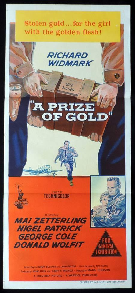 A PRIZE IN GOLD Original Daybill Movie Poster Richard Widmark