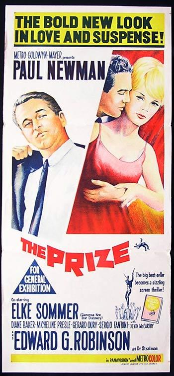 THE PRIZE Daybill Movie Poster Paul Newman Elke Sommer