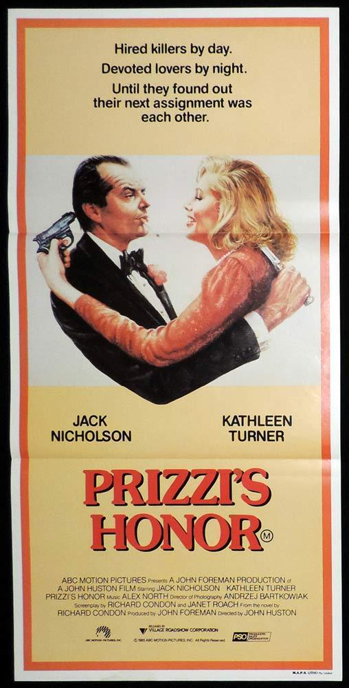 PRIZZI'S HONOR Original Daybill Movie poster Jack Nicholson Kathleen Turner