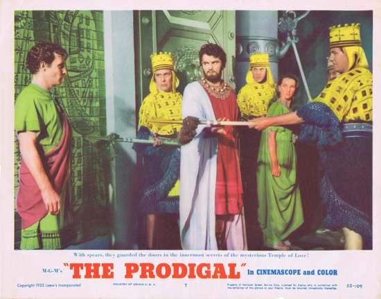 THE PRODIGAL US Lobby Card 7 Lana Turner Edmond Purdom
