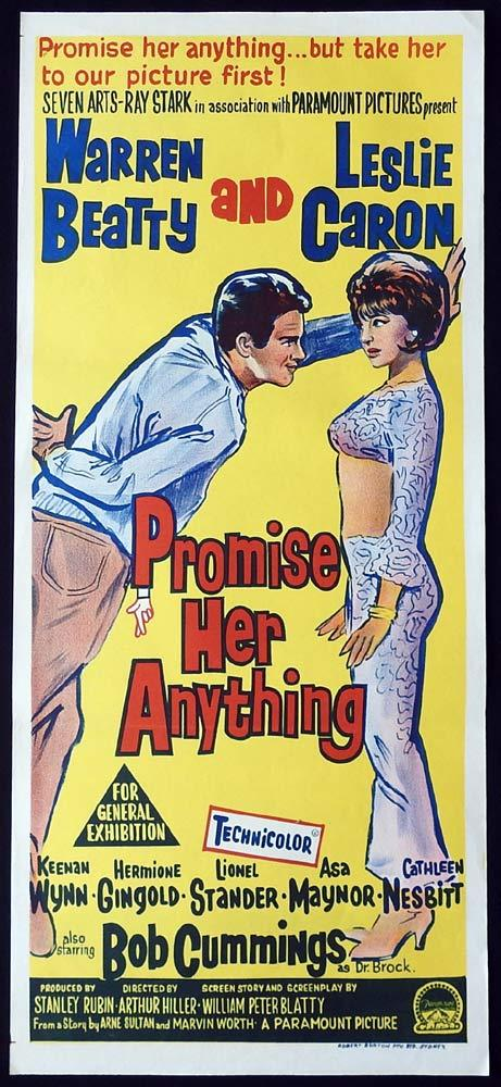 PROMISE HER ANYTHING Original Daybill Movie Poster Warren Beatty Leslie Caron