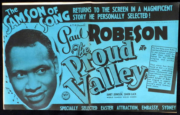 THE PROUD VALLEY 1940 Paul Robeson VINTAGE Original Movie Trade Ad
