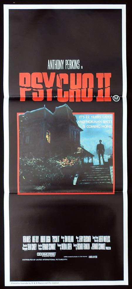 PSYCHO II Original Daybill Movie Poster Anthony Perkins as Norman Bates