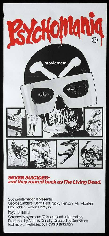 PSYCHOMANIA Original Daybill Movie Poster Motorcycle Biker Horror