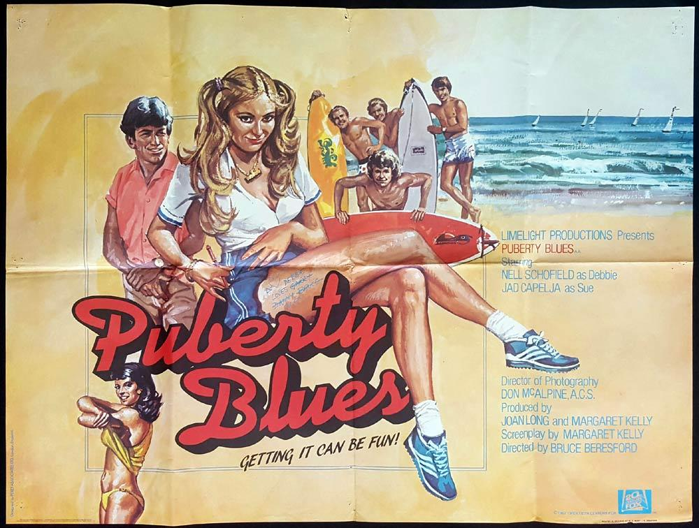 PUBERTY BLUES British Quad Movie poster BRUCE BERESFORD Surfing Chicks