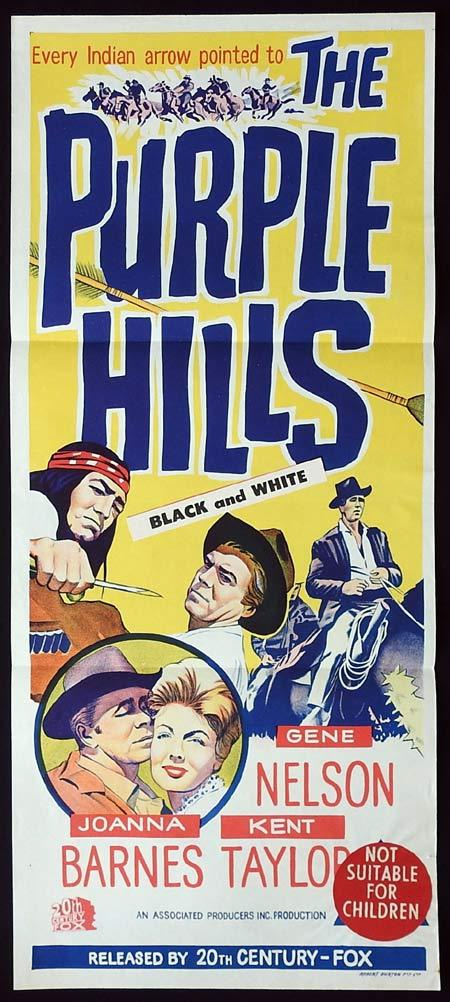 THE PURPLE HILLS Original Daybill Movie Poster Gene Nelson Kent Taylor
