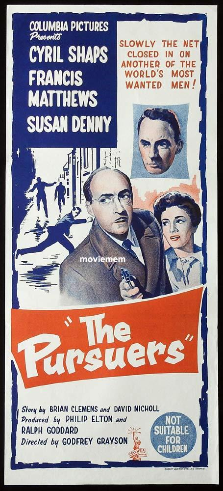 THE PURSUERS Original Daybill Movie Poster Cyril Shaps Francis Matthews