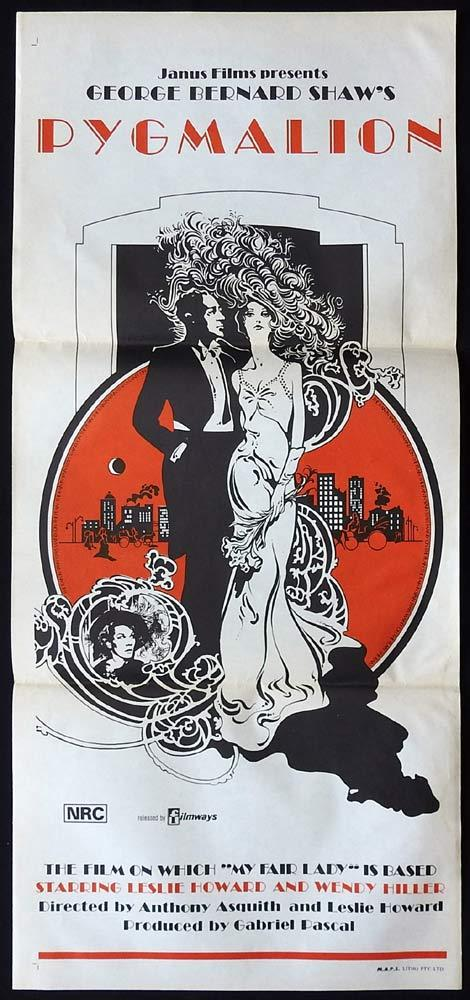 PYGMALION Original Daybill Movie Poster Leslie Howard Wendy Hiller 1970sr