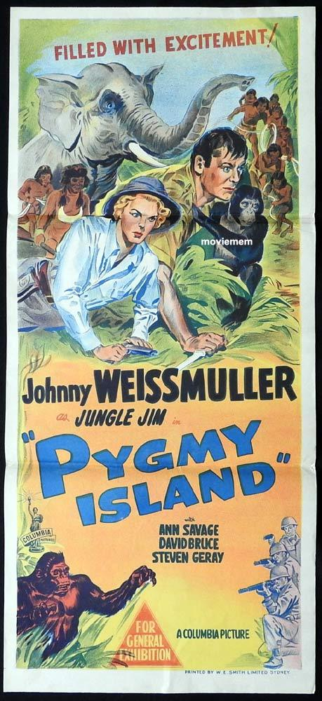 PYGMY ISLAND Original Daybill Movie poster Johnny Weissmuller Jungle Jim