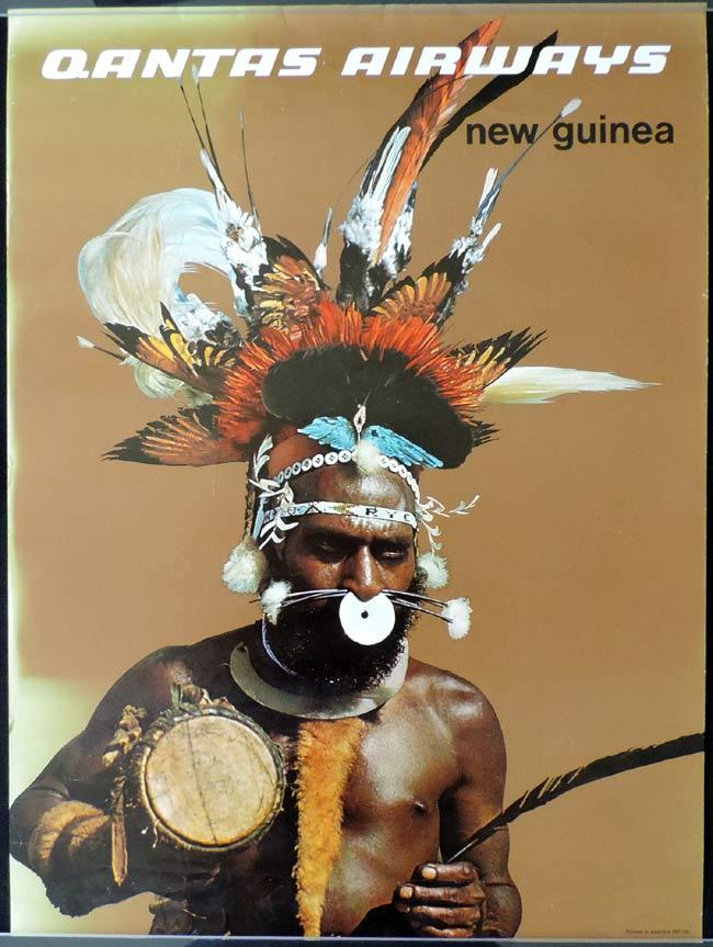 Qantas, Vintage poster, Advertising Poster, Original poster, Harry Rogers, Harry Rogers artwork, New Guinea