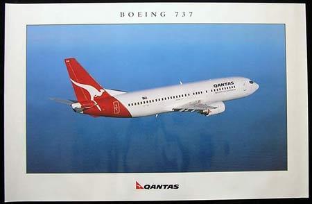 QANTAS 737 Vintage Travel Poster c.1990s