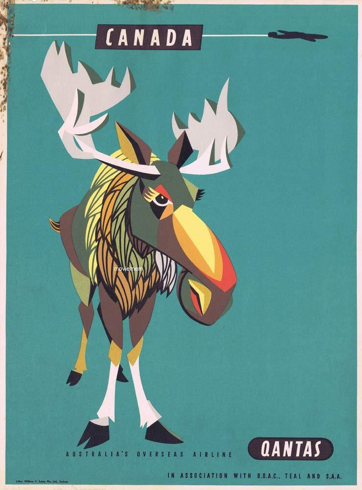 QANTAS AIRWAYS 1950s Airline Travel poster Canada Moose