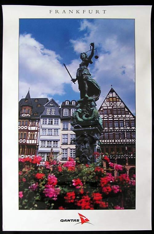 QANTAS Vintage Travel Poster c.1990s Frankfurt