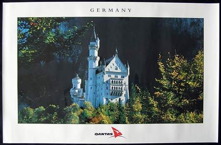 QANTAS Vintage Travel Poster c.1990s Germany