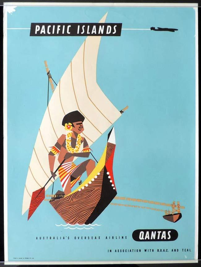 "QANTAS Vintage Travel Poster PACIFIC ISLANDS 1950s Harry Rogers art ""B"""