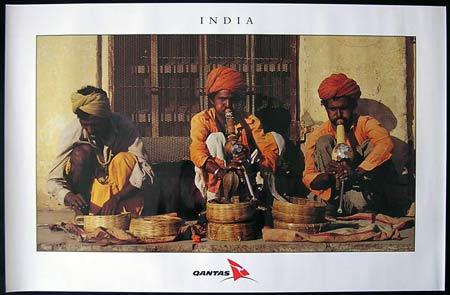 QANTAS Vintage Travel Poster c.1990s India