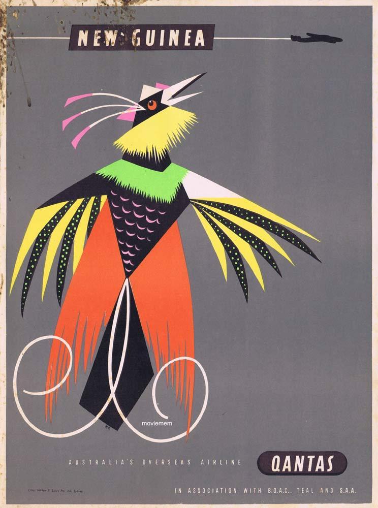 QANTAS Vintage Travel Poster NEW GUINEA 1950s Harry Rogers art