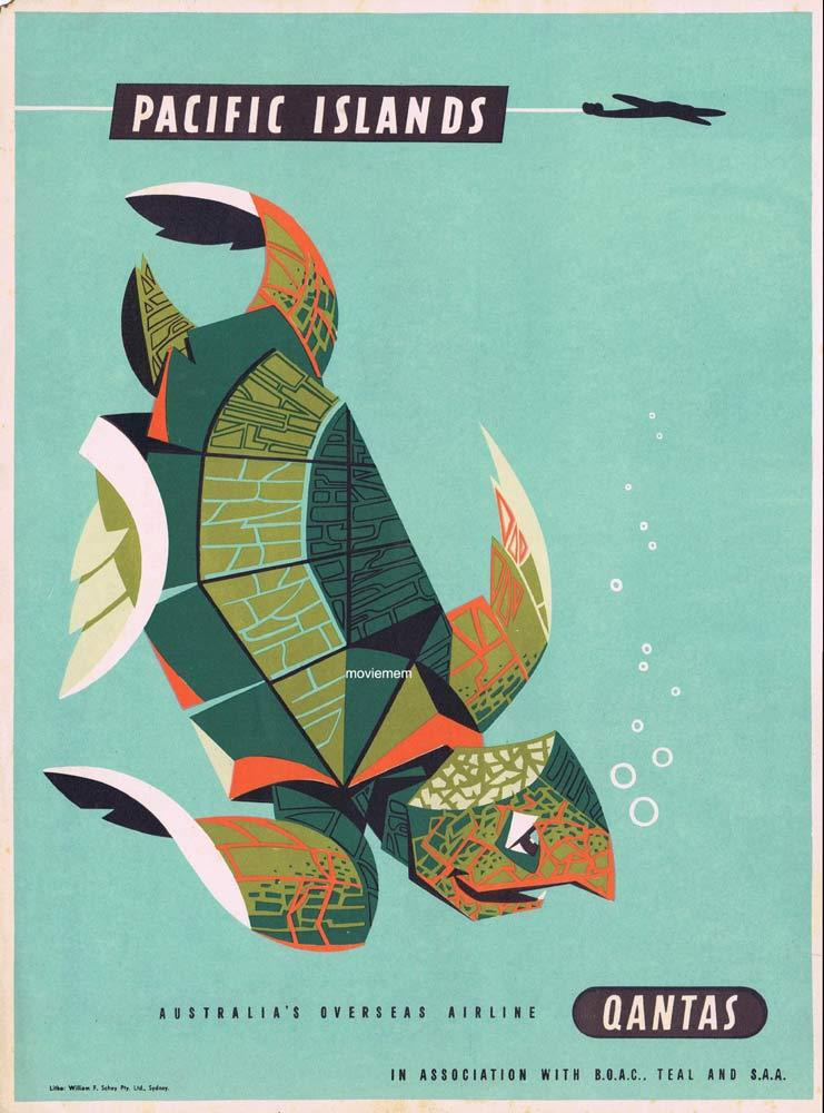 QANTAS Vintage Travel Poster PACIFIC ISLANDS 1950s Harry Rogers art A