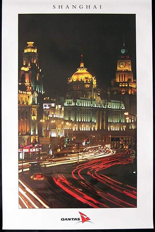 QANTAS Vintage Travel Poster c.1990s Shanghai