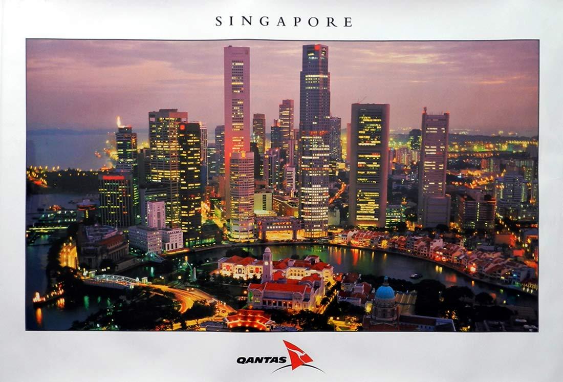 QANTAS Vintage Travel Poster c.1990s Singapore