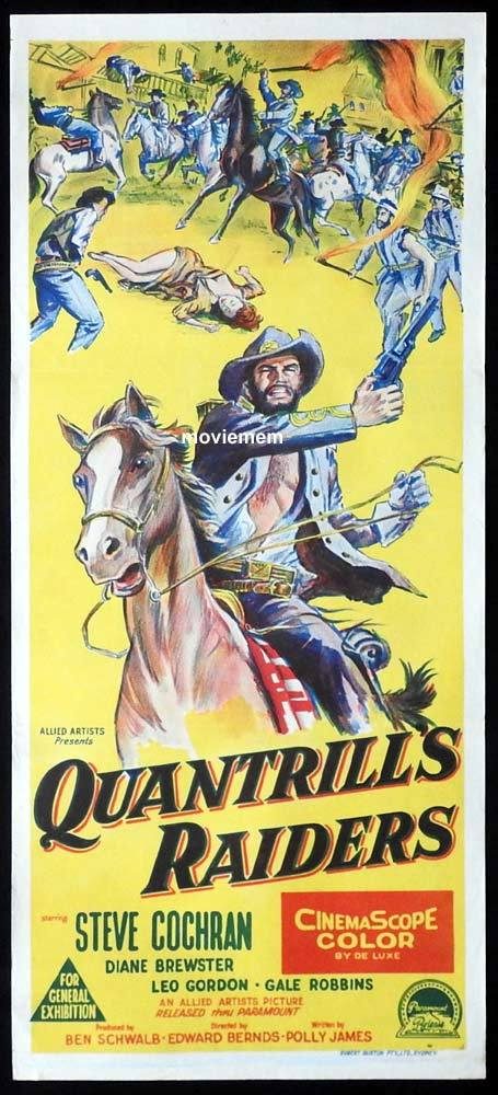 QUANTRILLS RAIDERS Original Daybill Movie Poster Steve Cochran Diane Brewster