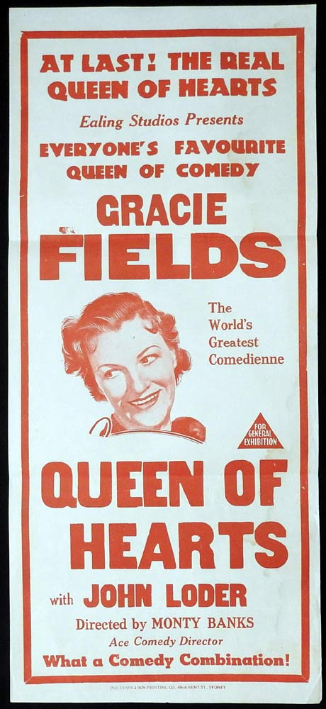 QUEEN OF HEARTS Original 1943r Daybill Movie Poster Gracie Fields Ealing