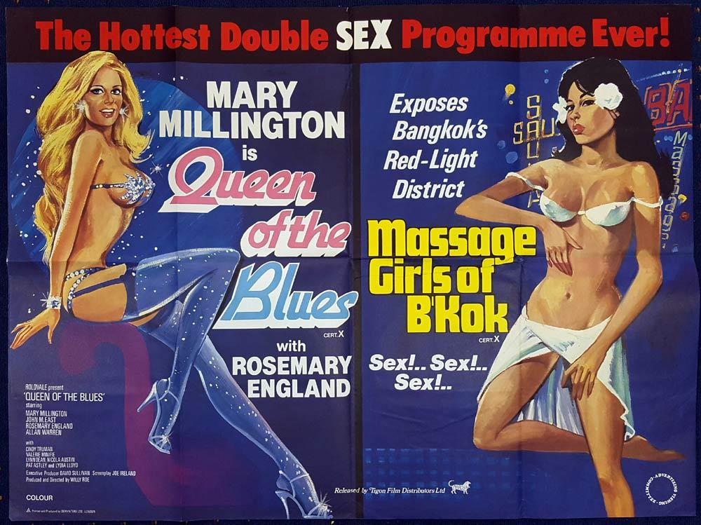 QUEEN OF THE BLUES MASSAGE GIRLS OF BANGKOK British Quad Movie poster Mary Millington DOUBLE FEATURE