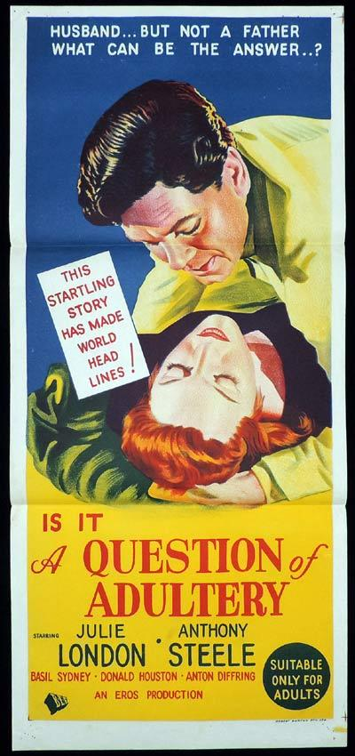 A QUESTION OF ADULTERY Daybill Movie poster Julie London Anthony Steel