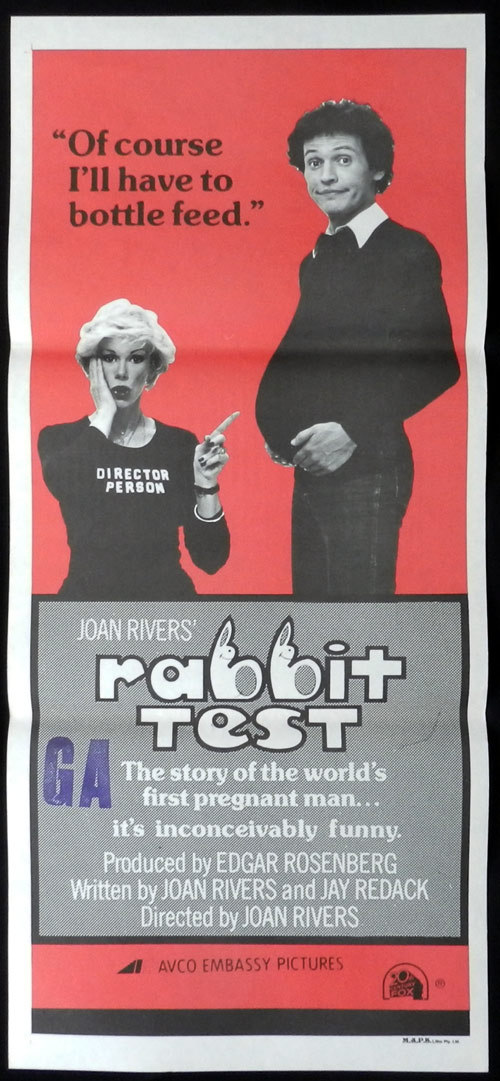 THE RABBIT TEST 1978 Daybill Movie poster Joan Rivers Billy Crystal