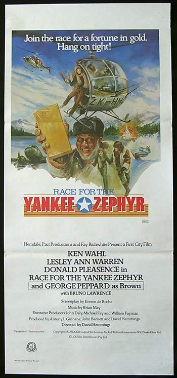 RACE FOR THE YANKEE ZEPHYR Original Daybill Movie poster Donald Pleasence