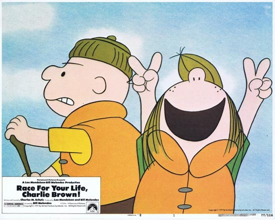 RACE FOR YOUR LIFE CHARLIE BROWN 1977 Lobby Card 1 Peanuts animation
