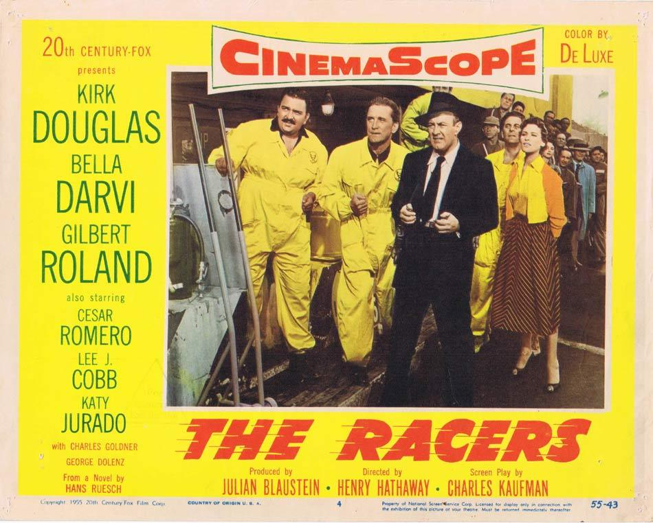 THE RACERS Lobby Card 4 Kirk Douglas Cesar Romero
