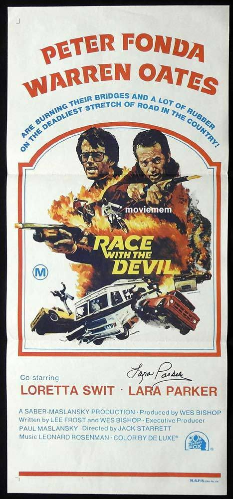 RACE WITH THE DEVIL Original Daybill Movie Poster Autograph Lara Parker