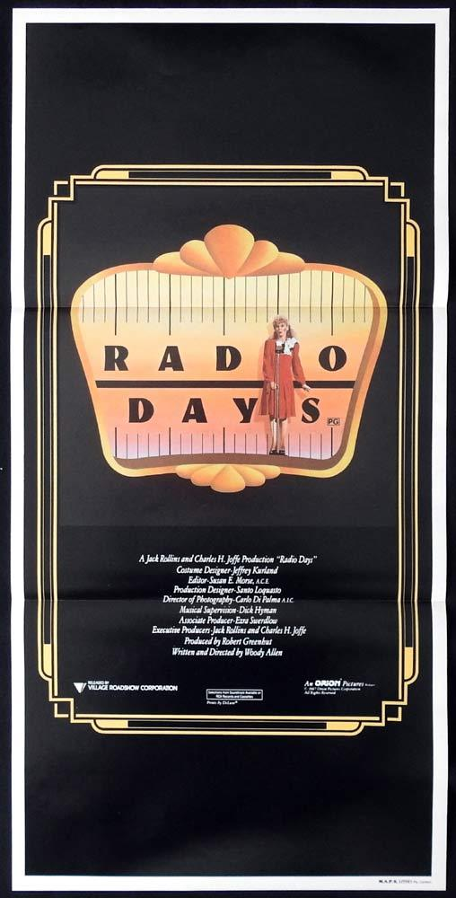 RADIO DAYS Original Daybill Movie poster Woody Allen Mia Farrow Dianne Wiest