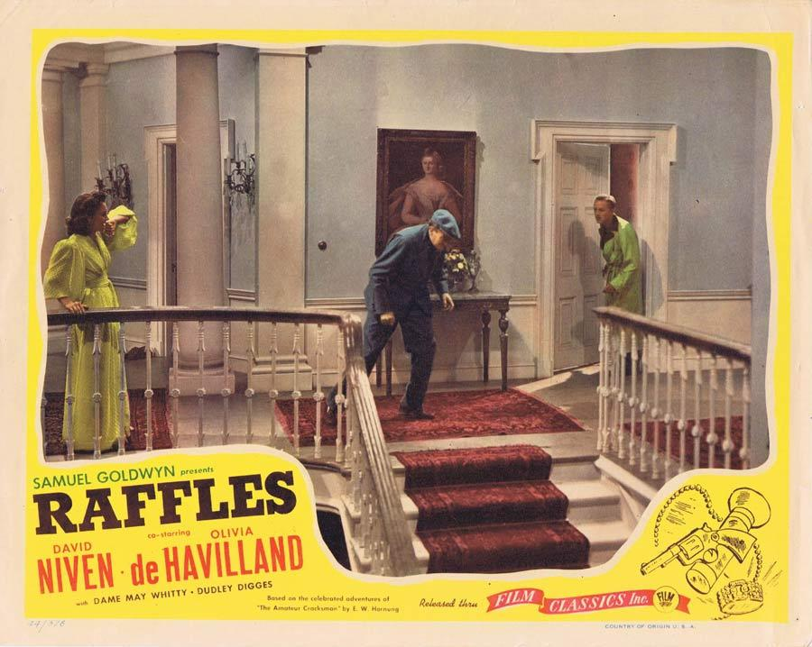 RAFFLES Lobby Card David Niven Olivia DeHavilland