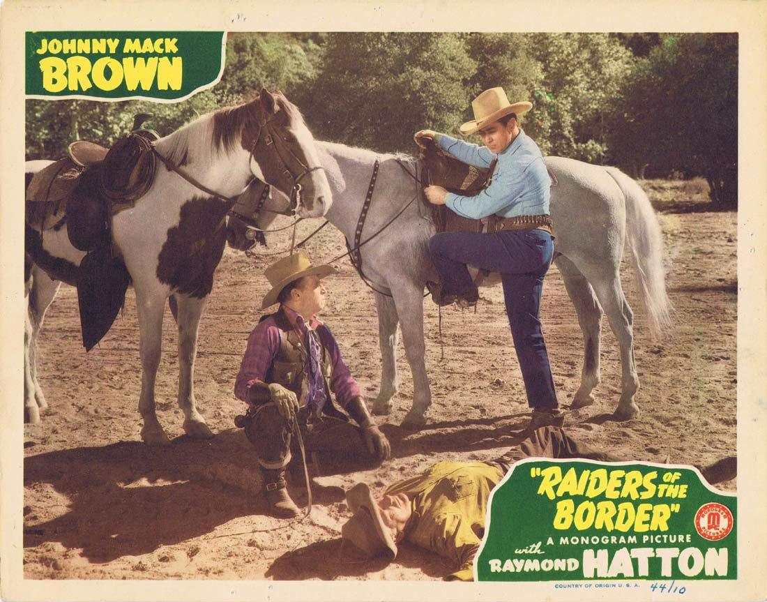 RAIDERS OF THE BORDER Original Lobby Card 2 Johnny Mack Brown Raymond Hatton Craig Woods 1944