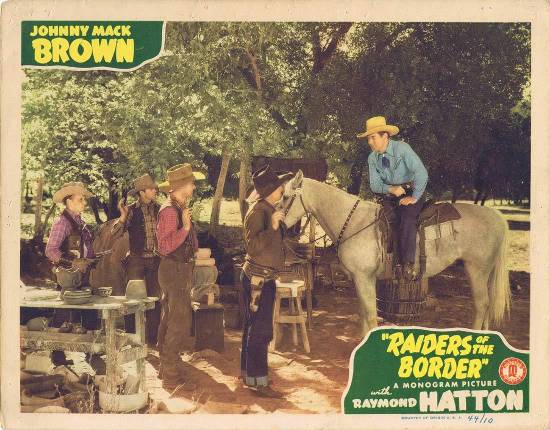 RAIDERS OF THE BORDER Original Lobby Card 3 Johnny Mack Brown Raymond Hatton Craig Woods 1944