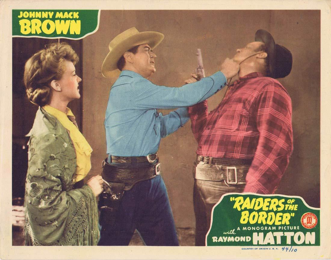 RAIDERS OF THE BORDER Original Lobby Card 4 Johnny Mack Brown Raymond Hatton Craig Woods 1944