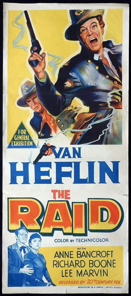 THE RAID Original daybill Movie Poster Van Heflin Anne Bancroft Richard Boone