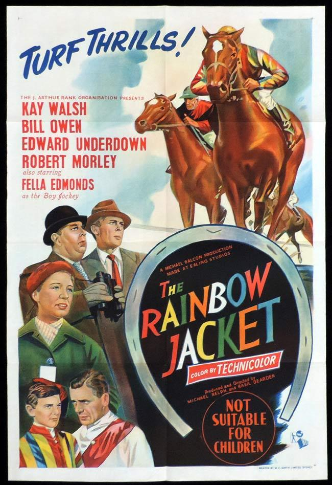 THE RAINBOW JACKET Original One sheet Movie Poster HORSE RACING Kay Walsh Robert Morley