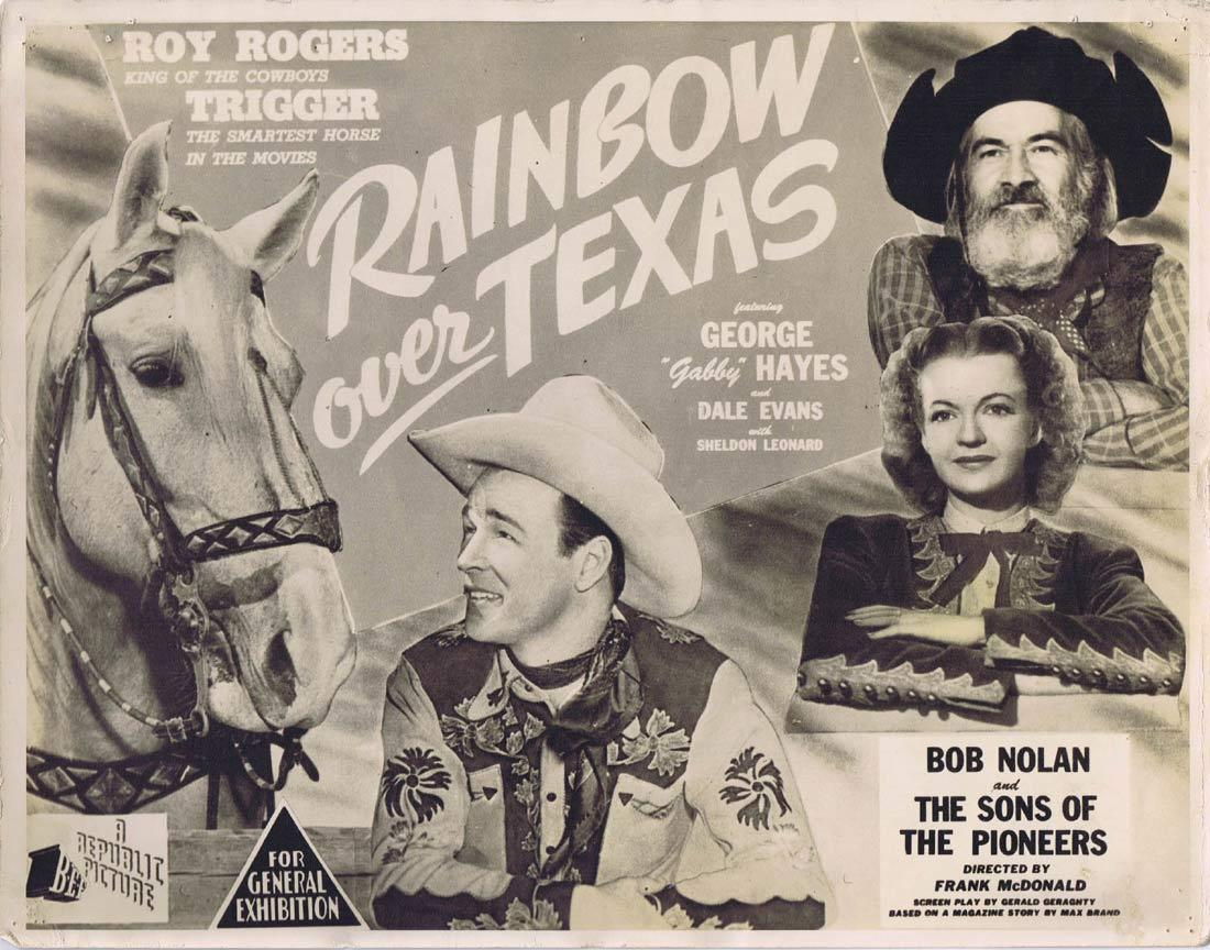 RAINBOW OVER TEXAS Title Lobby card  Roy Rogers Dale Evans