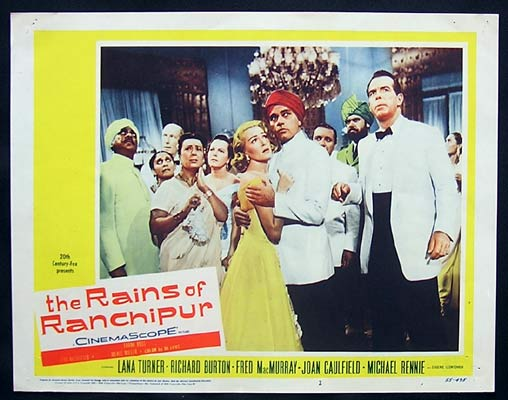RAINS OF RANCHIPUR Lobby Card 2 Lana Turner Richard Burton