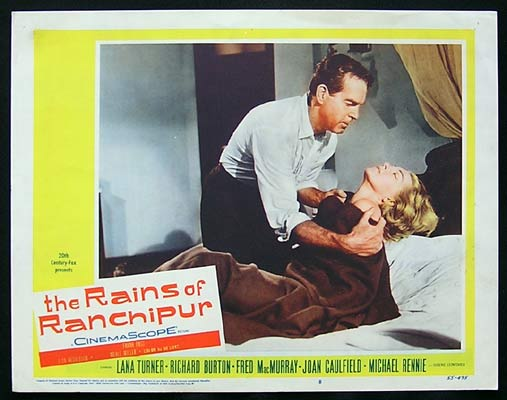 RAINS OF RANCHIPUR Lobby Card 8 Fred MacMurray Lana Turner