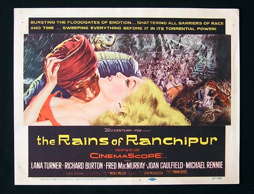 RAINS OF RANCHIPUR Title Lobby Card Richard Burton Fred MacMurray Lana Turner