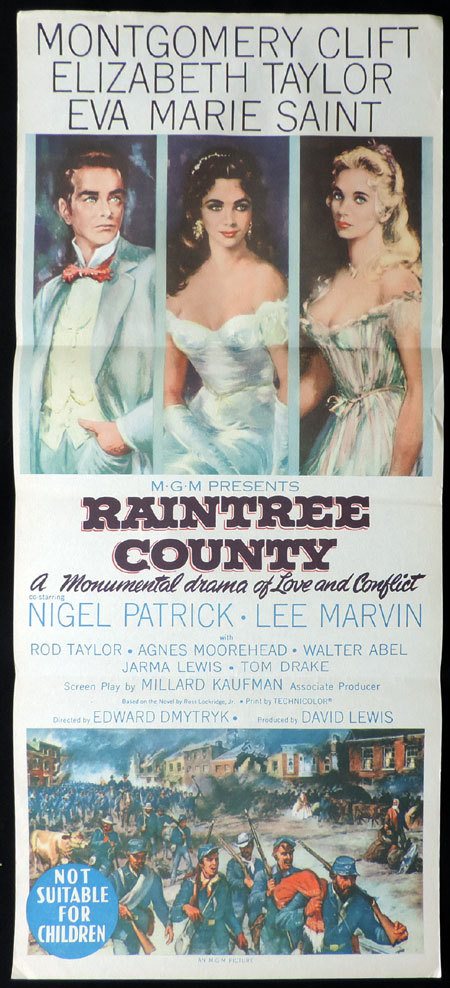 RAINTREE COUNTY Daybill Movie poster Elizabeth Taylor Montgomery Clift