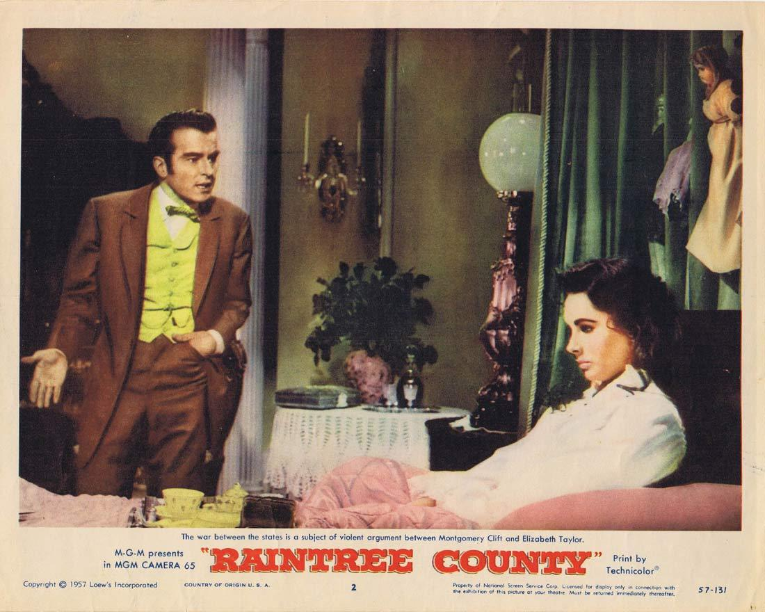 RAINTREE COUNTY Original Lobby Card 2 Montgomery Clift Elizabeth Taylor