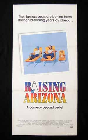 RAISING ARIZONA Nicolas Cage Holly Hunter VINTAGE Daybill Movie poster