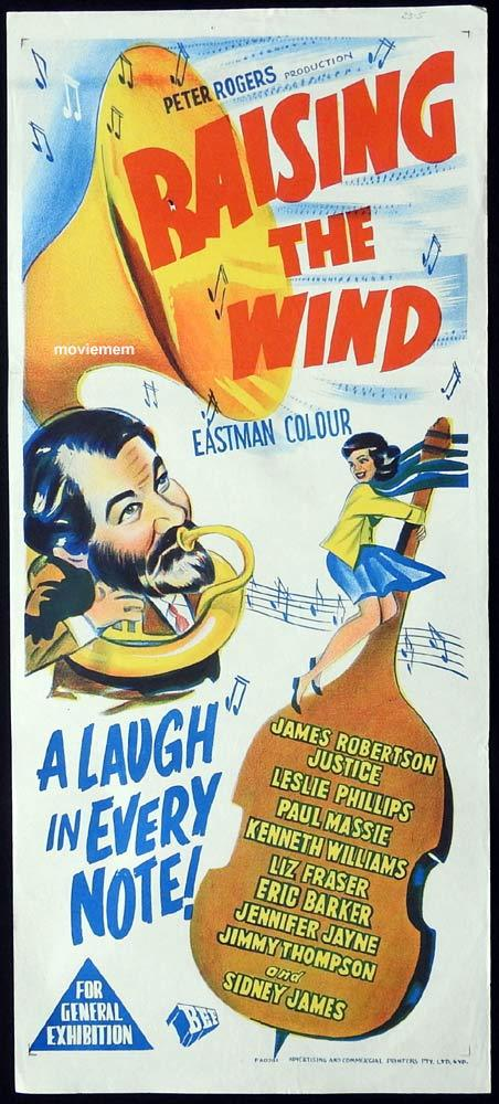 RAISING THE WIND Original Daybill Movie Poster Leslie Phillips James Robertson Justice