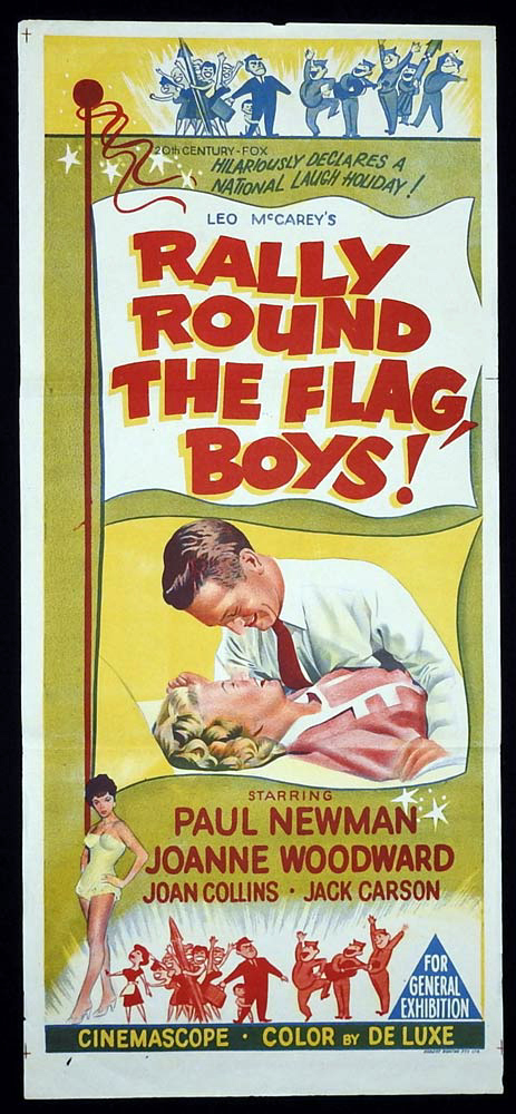 RALLY ROUND THE FLAG BOYS Original Daybill Movie Poster Joanne Woodward Paul Newman