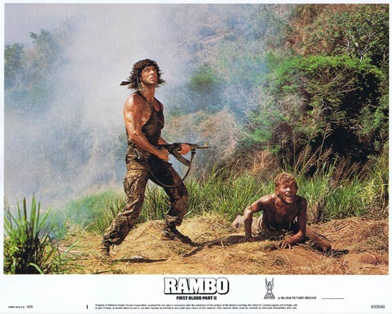 RAMBO FIRST BLOOD II US Lobby card 1 Sylvester Stallone